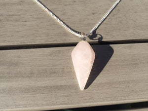 Rose Quartz Crystal Healing Chakra Pendulum Necklace - Egret Jewellery