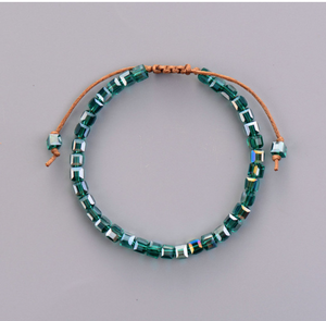 Square Green Tila Beaded Leather Friendship | Stacking Bracelet