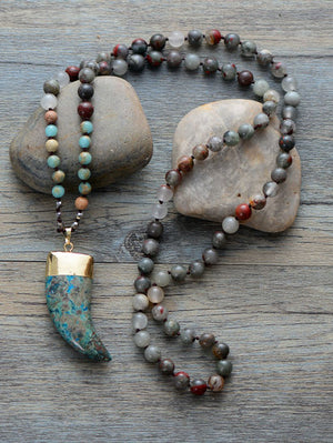 Boho Long Turquoise & Agate Beaded Mala Tusk Necklace