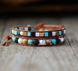 Natural Turquoise & Howlite Square Cut Leather Beaded Wrap Bracelet