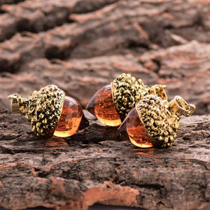 Antique Gold Glass Amber Acorn Necklace