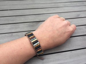 Onyx & Agate Oblong Leather Beaded Cuff Bracelet | Men's | Women's