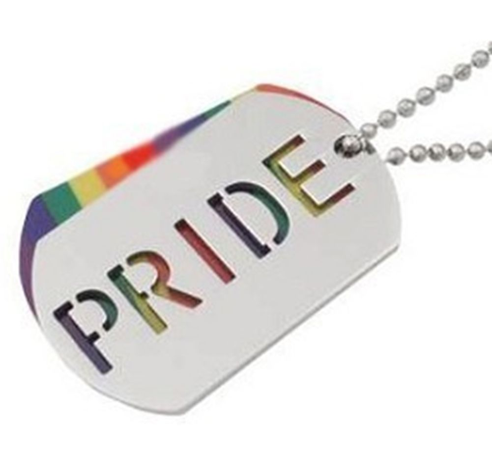 LGBT RAINBOW PRIDE STAINLESS STEEL PENDANT DOG TAG NECKLACE Gay and Lesbian