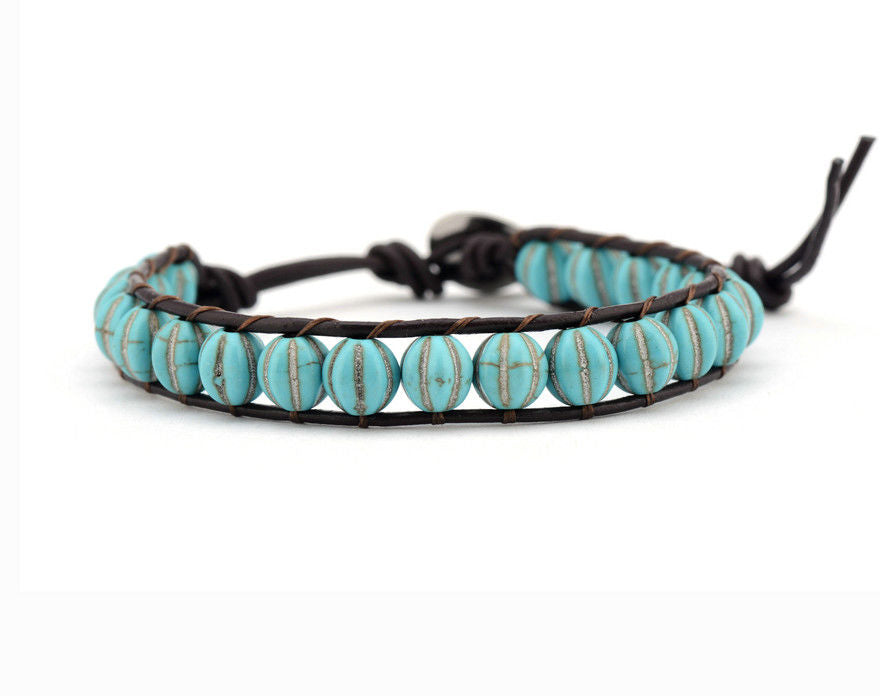 Natural Stone Turquoise Leather Wrap Stacking Bracelet