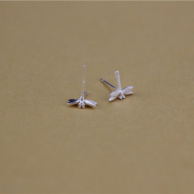Brushed 925 Silver Sterling Dragonfly Stud Earrings - Egret Jewellery