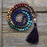 Long Agate & Turquoise Boho  Mala Beads Beaded Tassel Necklace