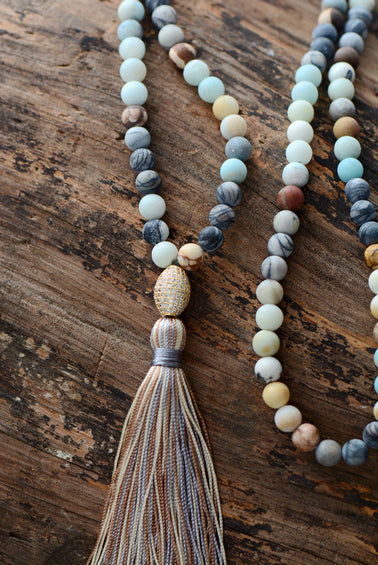 Beaded Amazonite & Turquoise Long Mala Tassel Gold Boho Necklace - Egret Jewellery