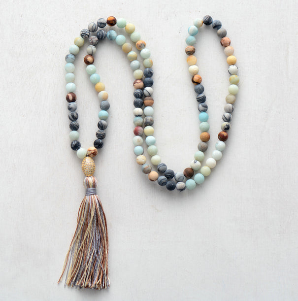 Beaded Amazonite & Turquoise Long Mala Tassel Gold Boho Necklace