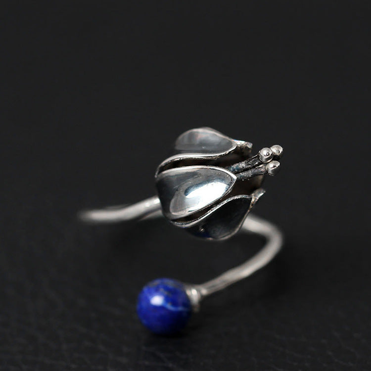 925 Sterling Silver Lapis Lazuli  Flower Ring - Egret Jewellery
