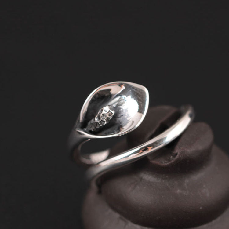 925 Sterling Silver Calla Lily Adjustable Wrap Flower Ring - Egret Jewellery