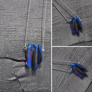 Raw Crystal Rough Peacock Ore Beaded Necklace