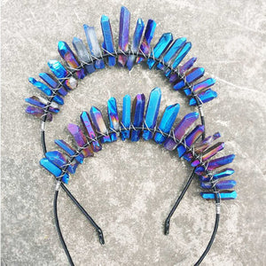 Raw Rough Aura Quartz Tiara Mermaid Fairy Crown Headband Headpiece - Egret Jewellery