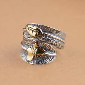 925 Sterling Silver Feather Ring Butterfly, Leaf Gold Statement