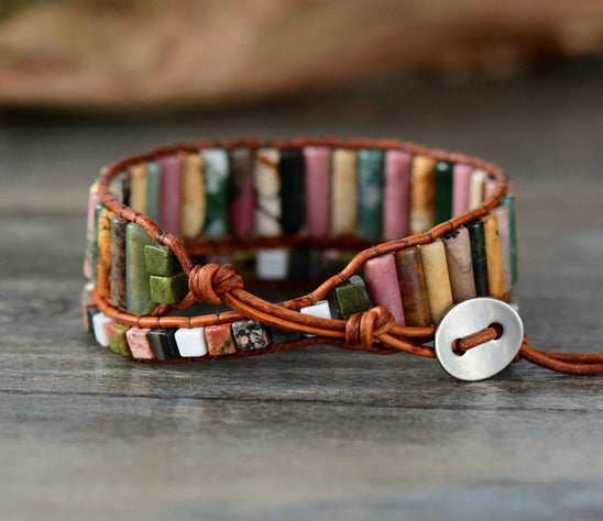 Leather, Agate & Jasper Square Beaded Wrap Bracelet - Egret Jewellery