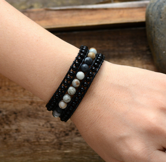 Natural Stone Onyx & Agate Beaded Triple Wrap Bracelet Men's | Women's - Egret Jewellery
