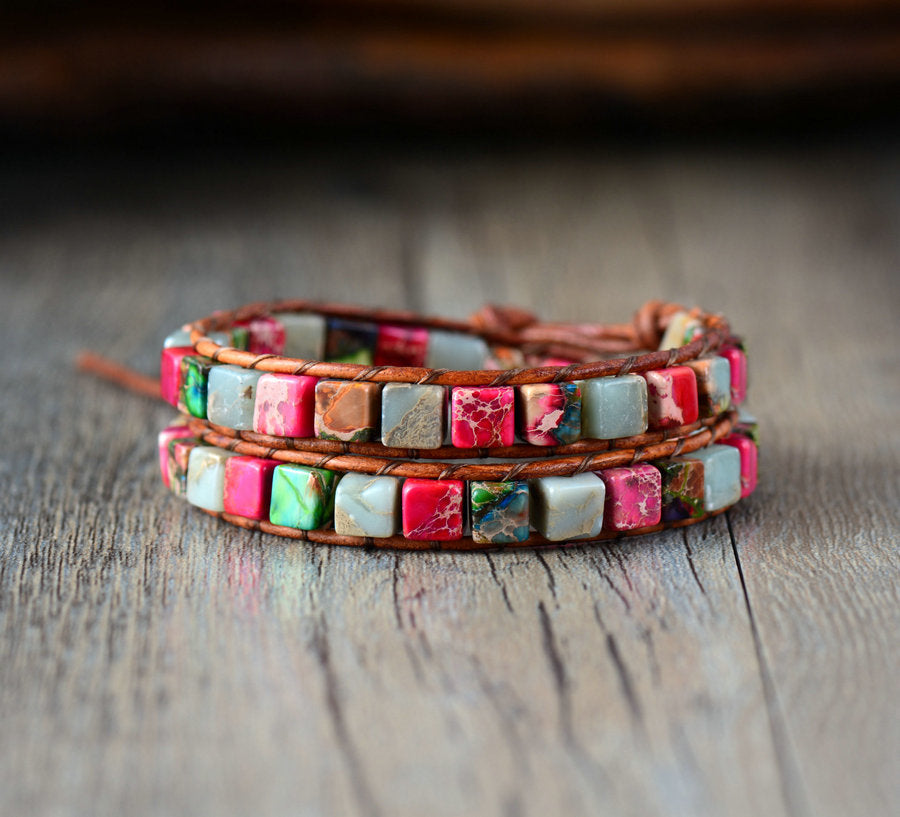 Leather Beaded Red Jasper & Agate Friendship Wrap Bracelet