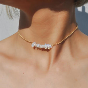 Rough Opal Moonstone Crystal Choker | Gold Necklace
