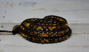 Tigers Eye Beaded Friendship Wrap Bracelet | Brown Leather Cuff - Egret Jewellery