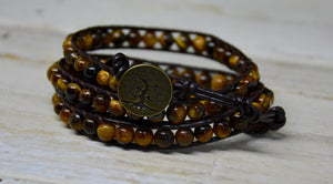 Tigers Eye Beaded Friendship Wrap Bracelet | Brown Leather Cuff