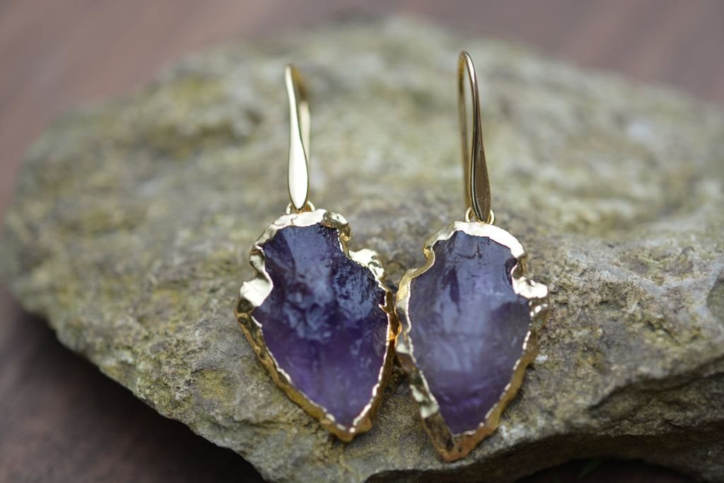 Rough Purple Amethyst Gold Boho Druzy Arrowhead Geode Earrings