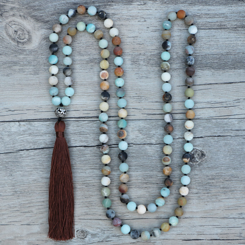 Boho Gemstone Green Jade & Amazonite Beaded Tassel Necklace