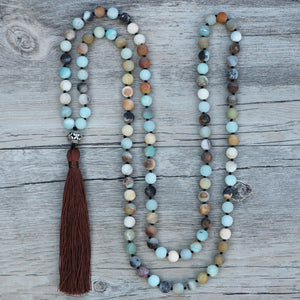Boho Gemstone Green Jade & Amazonite Beaded Tassel Necklace - Egret Jewellery