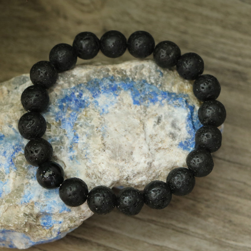 Men's Natural Lava Rock & Tigers Eye Beaded Black Cuff Bracelet