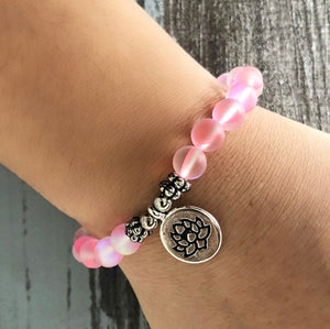 Mermaid Glass Beaded Stacking | Friendship Bracelet, Beads Lotus Pink Matt