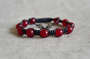 Red Jade Beaded Shamballa Bracelet Men's | Women's - Egret Jewellery