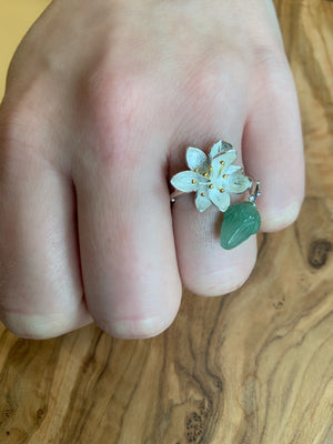 Sterling Silver Lotus Flower Jade Bud Leaf Lily Branch Wrap Ring - Egret Jewellery
