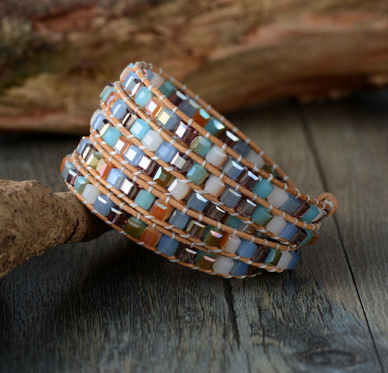 Large Tila Beaded Square Friendship Wrap Bracelet - Egret Jewellery