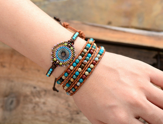 Natural Stone Seed Beads & Turquoise Beaded Stacking Friendship Bracelet - Egret Jewellery