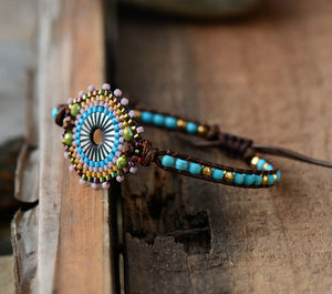 Natural Stone Seed Beads & Turquoise Beaded Stacking Friendship Bracelet