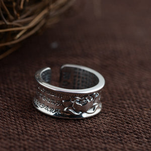 Sterling Silver Engraved Sutra Buddhist Mantra Lotus Ring