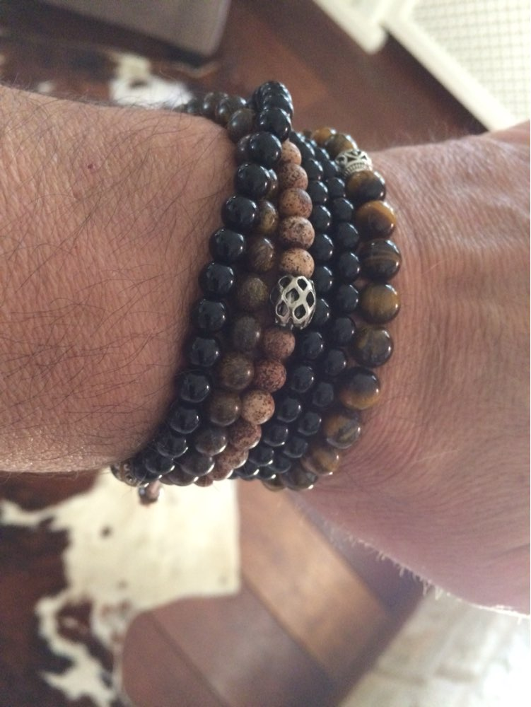 Men's Beaded Brown Jasper Discs & Silver Stacking Bracelet