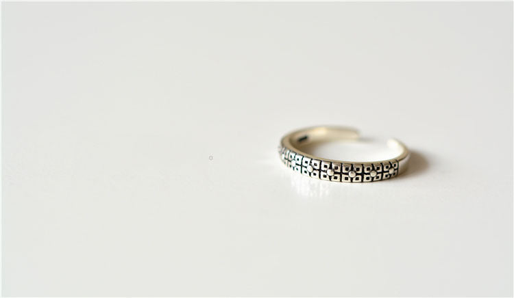 Sterling Silver Stacking Layered Adjustable Square Pattern Flower Ring