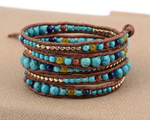 Natural Gemstone Beaded Wrap Bracelet Turquoise Goldstone Lapis Lazuli - Egret Jewellery