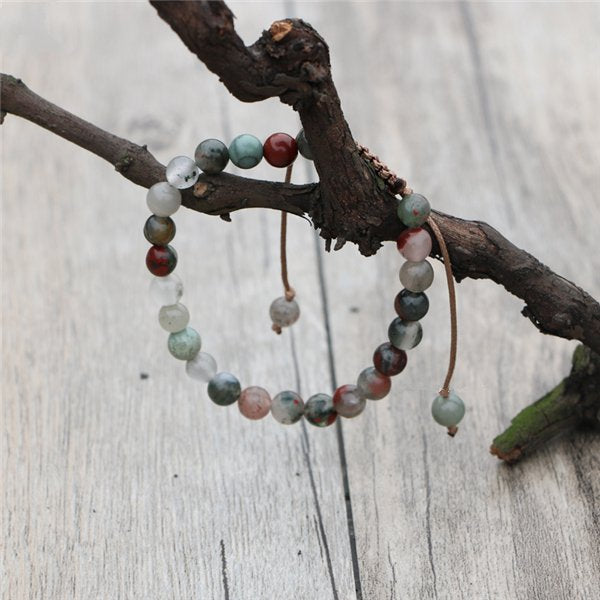 Natural Jasper & Agate Beaded Stone Stacking Bracelet