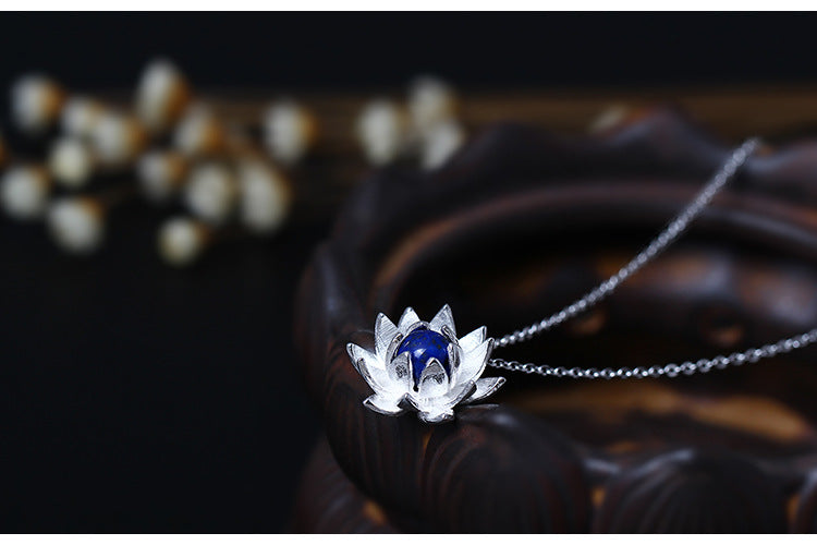 Sterling Silver Natural Blue Lapis Lazuli Lotus Flower Necklace - Egret Jewellery