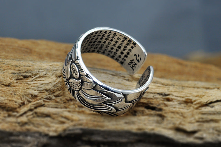 925 Sterling Silver Engraved Sutra Buddhist Mantra Lotus Ring