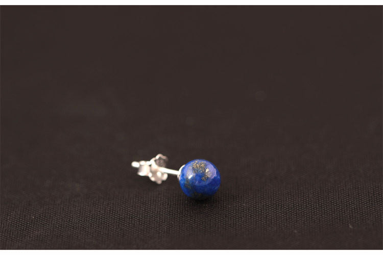 Sterling Silver Natural Blue Lapis Lazuli Round Stud Earrings