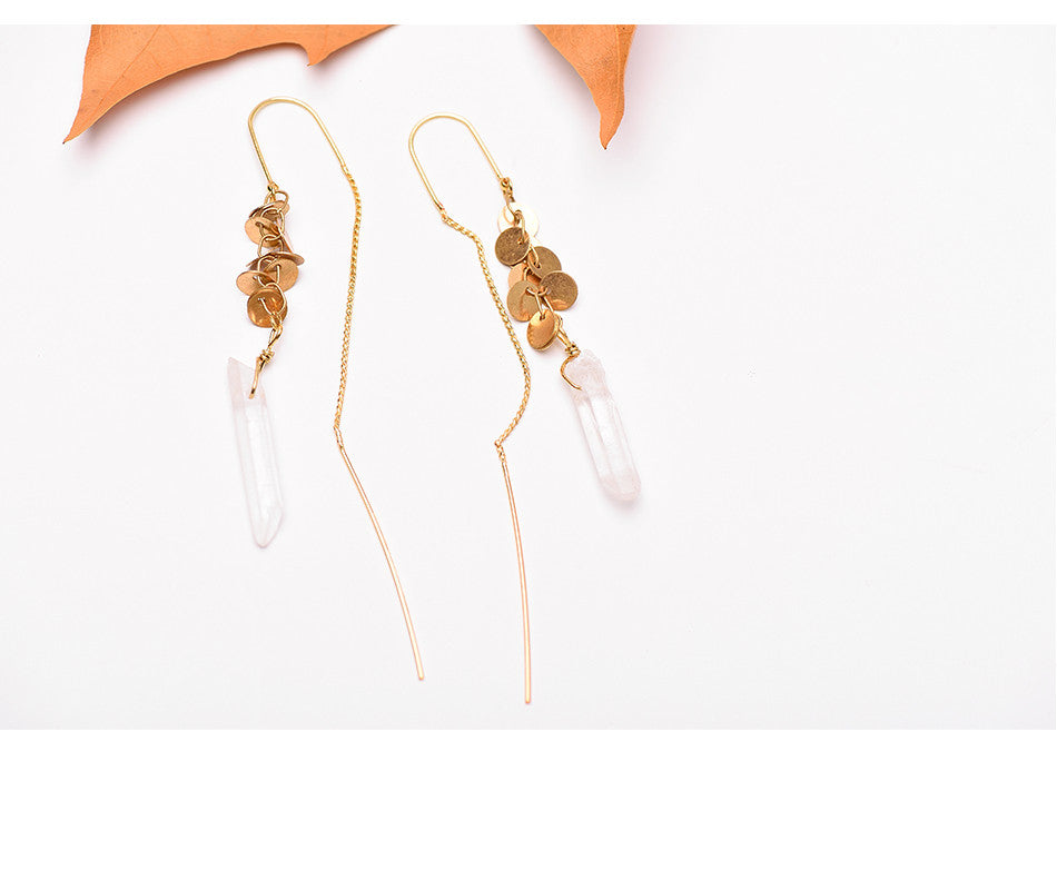 Rough Quartz Crystal Gold Dangle Threader Earrings - Egret Jewellery