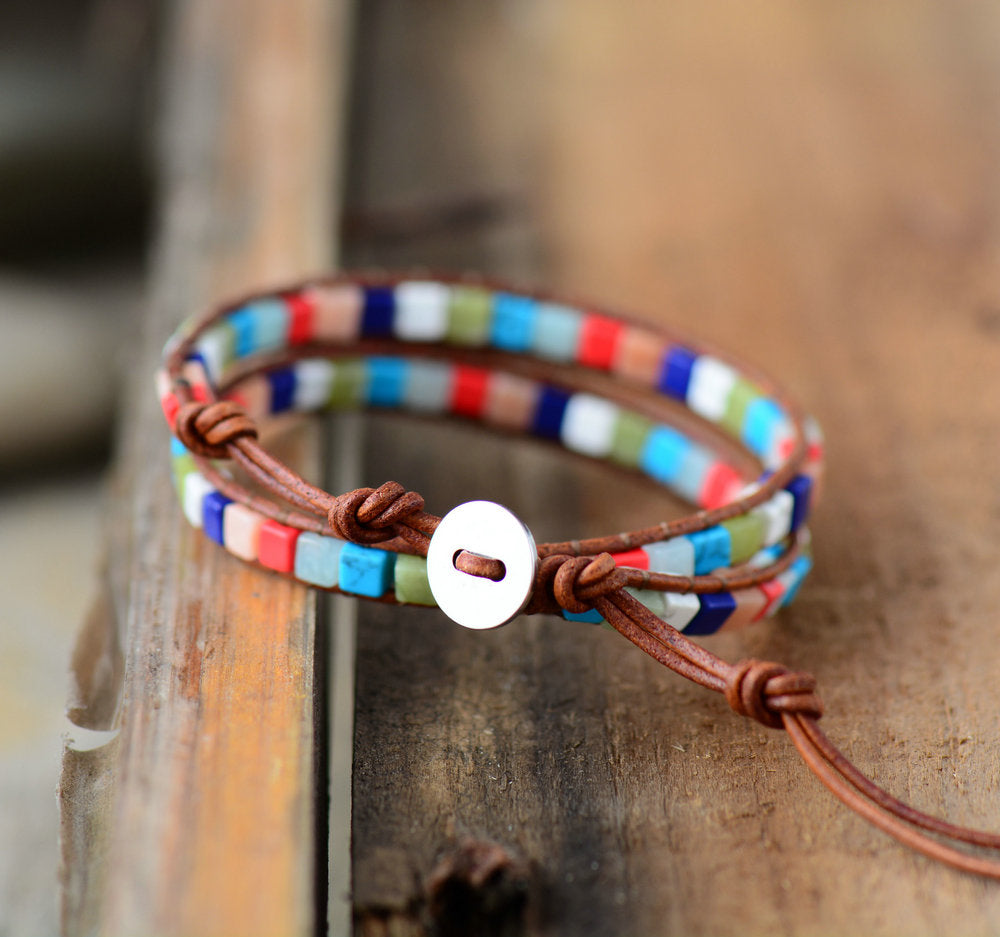 Chakra Beaded Friendship Wrap Bracelet Leather Agate | Jade