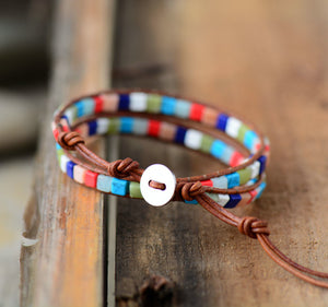 Chakra Beaded Friendship Wrap Bracelet Leather Agate | Jade - Egret Jewellery
