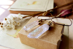 Natural Boho Large Rough Quartz Crystal Leather Necklace - Egret Jewellery