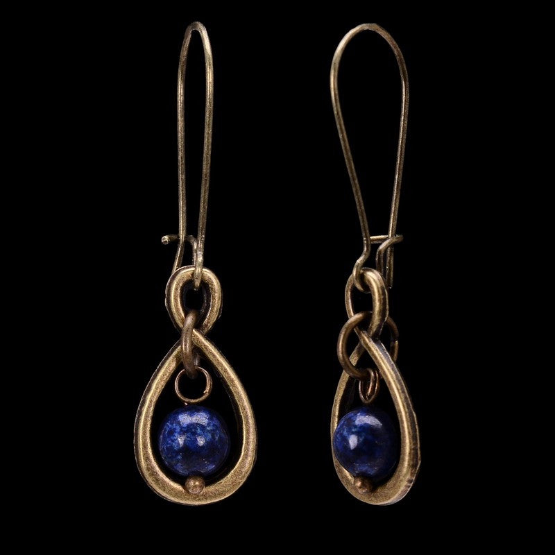 Natural Blue Round Lapis Lazuli Bronze Dangle Earrings