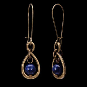 Natural Blue Round Lapis Lazuli Bronze Dangle Earrings - Egret Jewellery