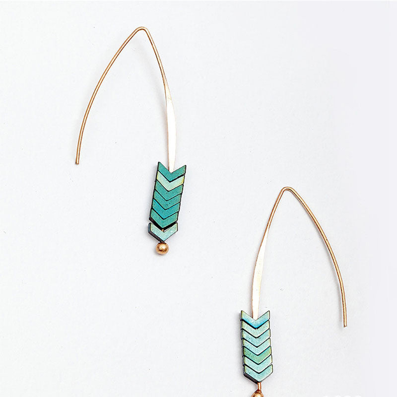18ct Gold Plated Arrow Geometric Fish Dangle Earrings - Egret Jewellery