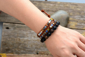 Leather, Agate, Onyx & Howlite Beaded Wrap Bracelet - Egret Jewellery