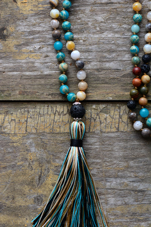 7 Stone Mala Imperial Jasper & Lava Rock Chakra Beaded Tassel Necklace